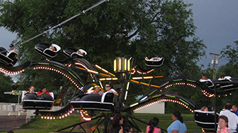 The Spider. Riders between 36 inches and 42 inches must ride with an adult.